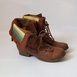 SM New York Fold Over Combat Moto Boots Size 8